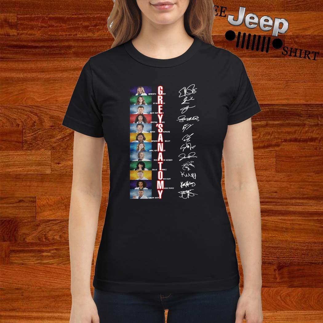 Grey's Anatomy Meredith Grey Jo Karev Alex Karev Signatures Ladies Shirt