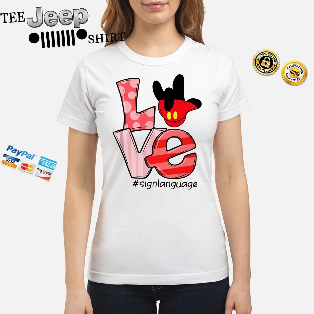Mickey Mouse Love Signlanguage Ladies Shirt