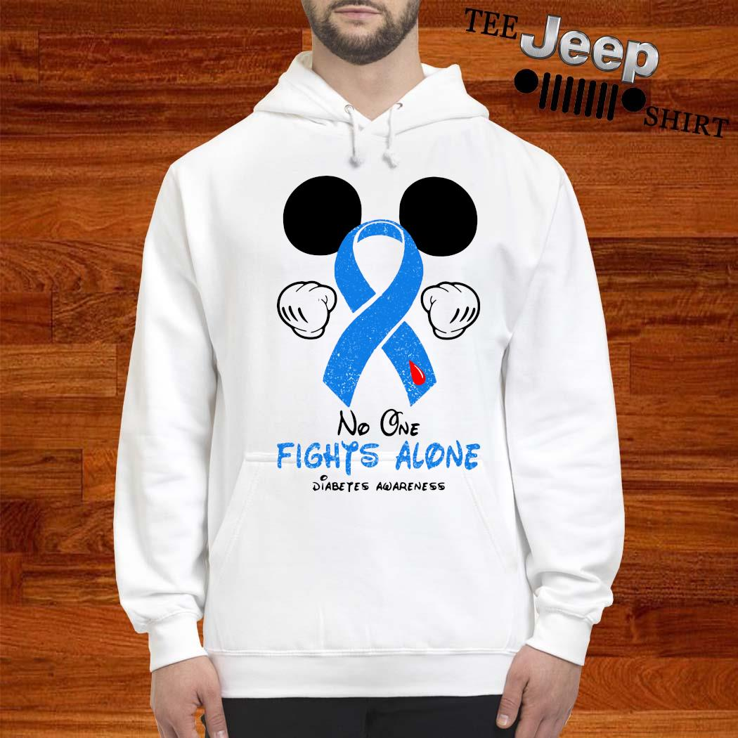 Mickey Mouse No One Fights Alone Diabetes Awareness Shirt hoodie
