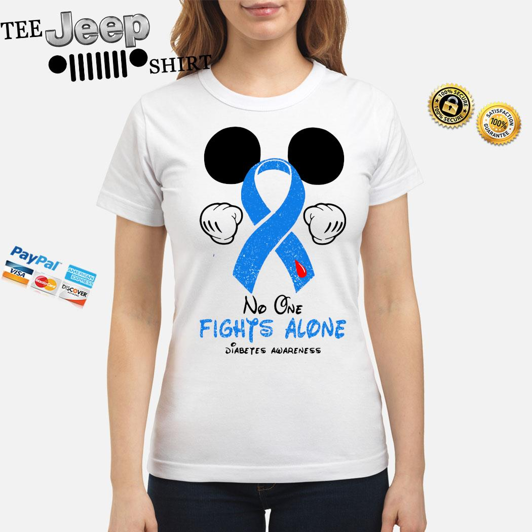 Mickey Mouse No One Fights Alone Diabetes Awareness Shirt ladies-shirt