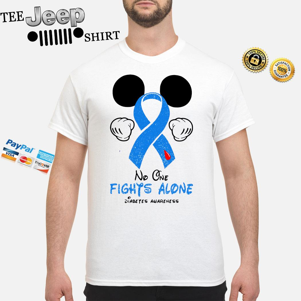 Mickey Mouse No One Fights Alone Diabetes Awareness Shirt