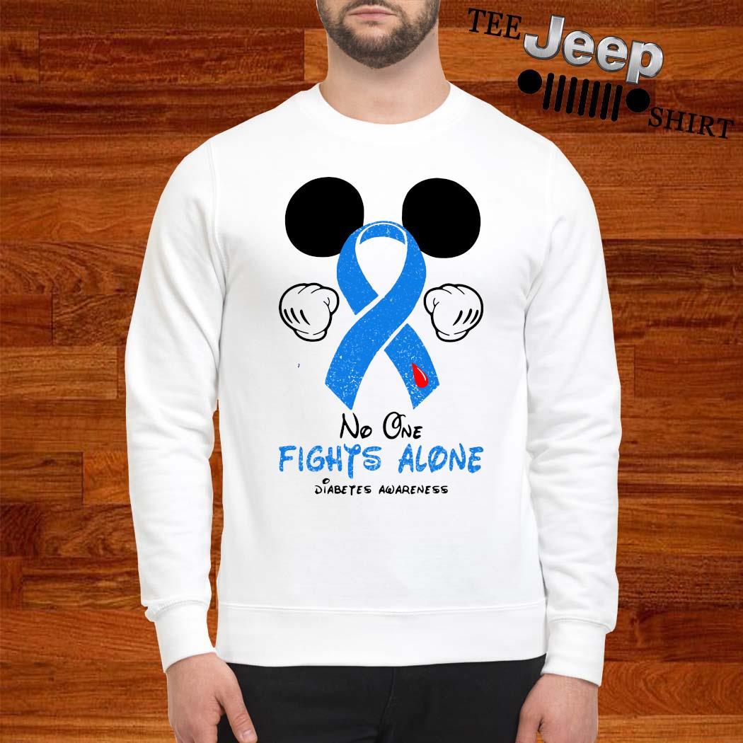 Mickey Mouse No One Fights Alone Diabetes Awareness Shirt sweatshirt
