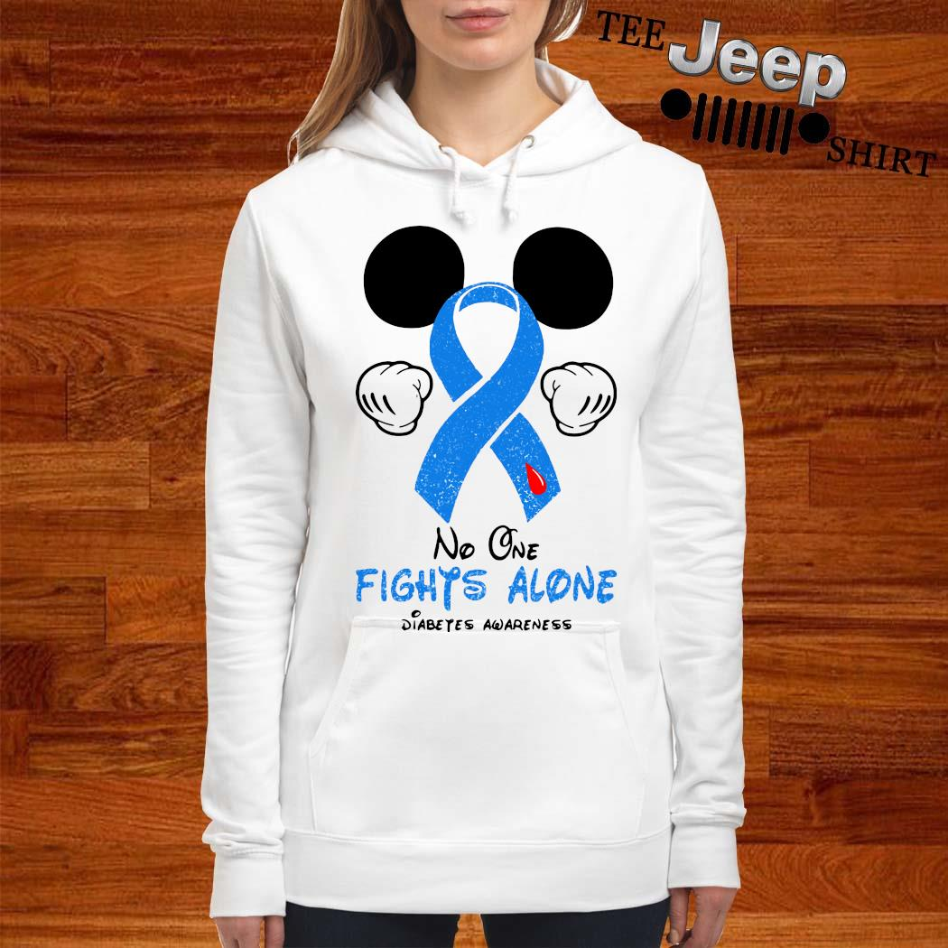 Mickey Mouse No One Fights Alone Diabetes Awareness Shirt women-hoodie