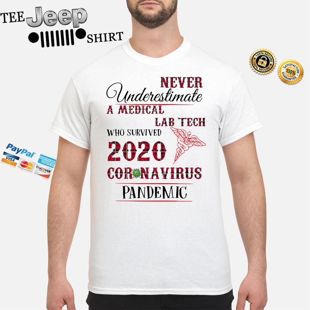 Never Underestimate A Medical Lab Tech Who Survived 2020 Coronavirus Pandemic Shirt
