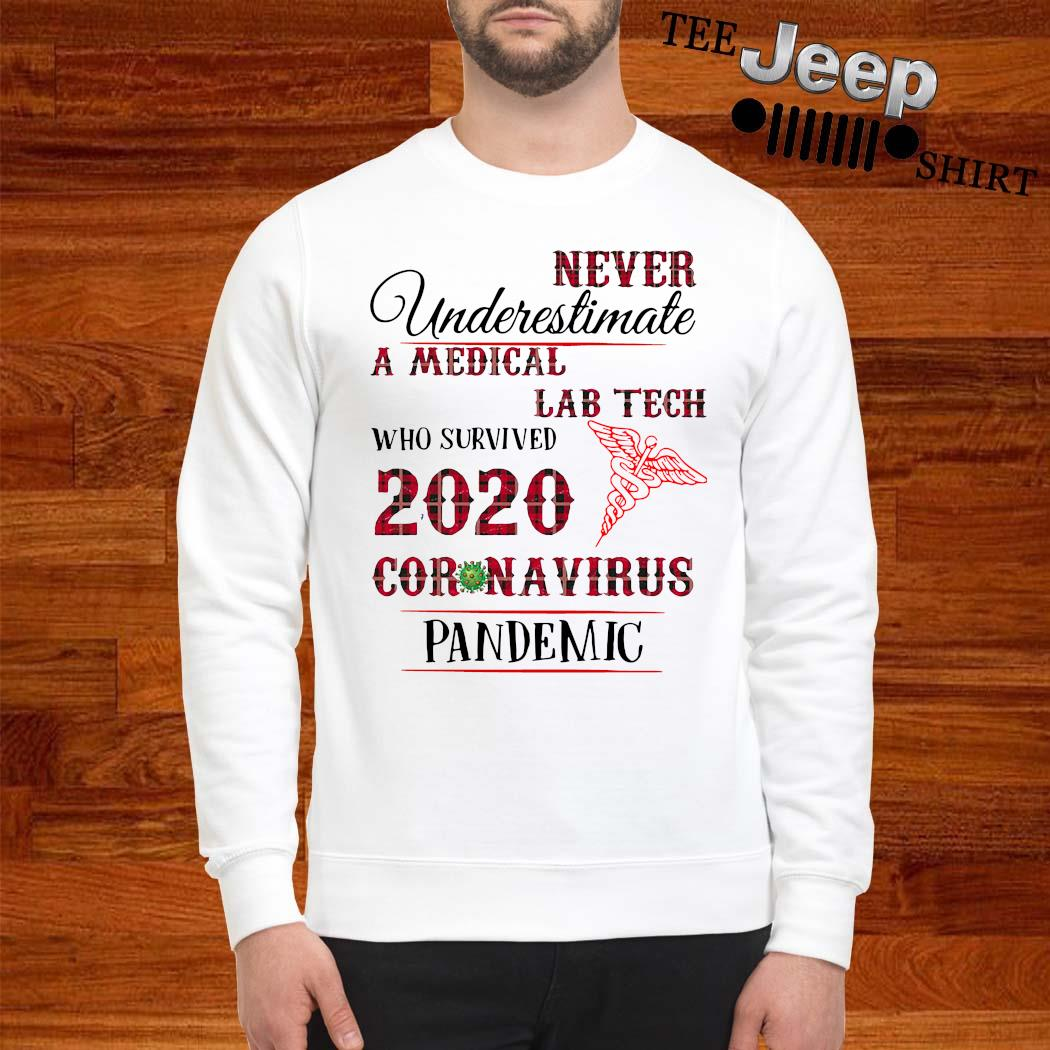 Never Underestimate A Medical Lab Tech Who Survived 2020 Coronavirus Pandemic Shirt sweatshirt