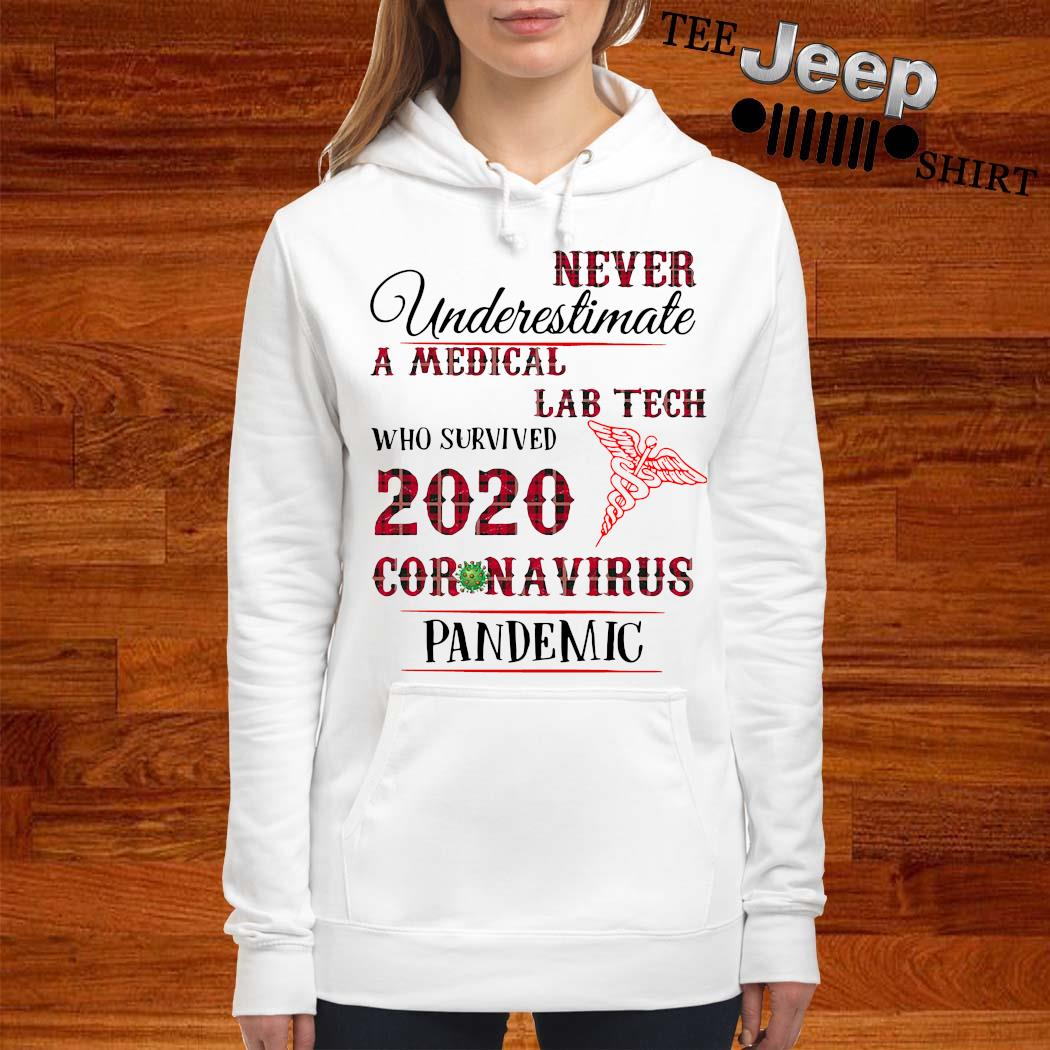 Never Underestimate A Medical Lab Tech Who Survived 2020 Coronavirus Pandemic Shirt women-hoodie