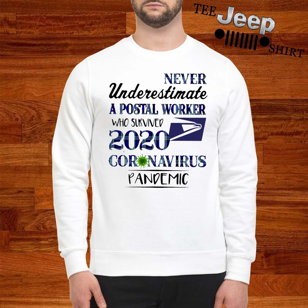 Never Underestimate A Postal Worker Who Survived 2020 Coronavirus Pandemic Shirt sweatshirt