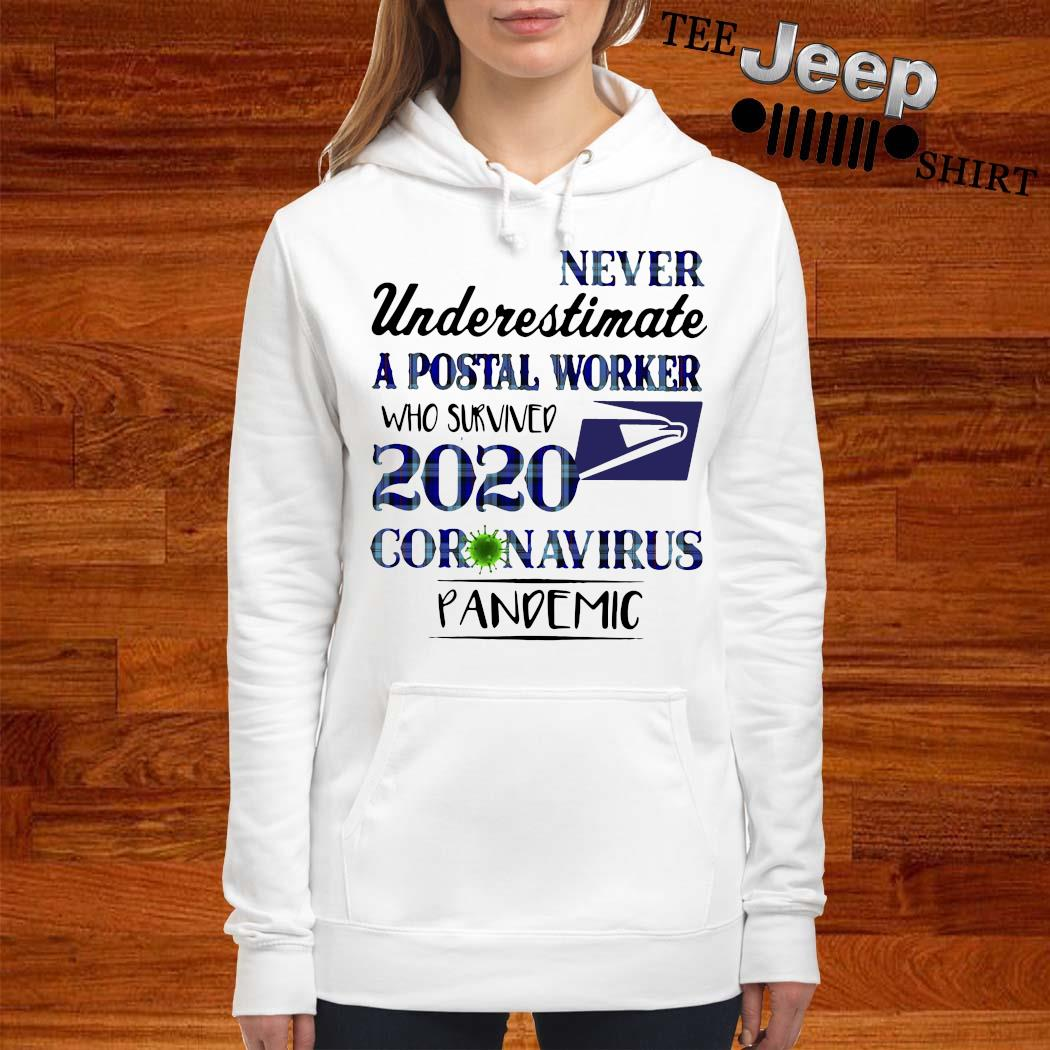 Never Underestimate A Postal Worker Who Survived 2020 Coronavirus Pandemic Shirt women-hoodie