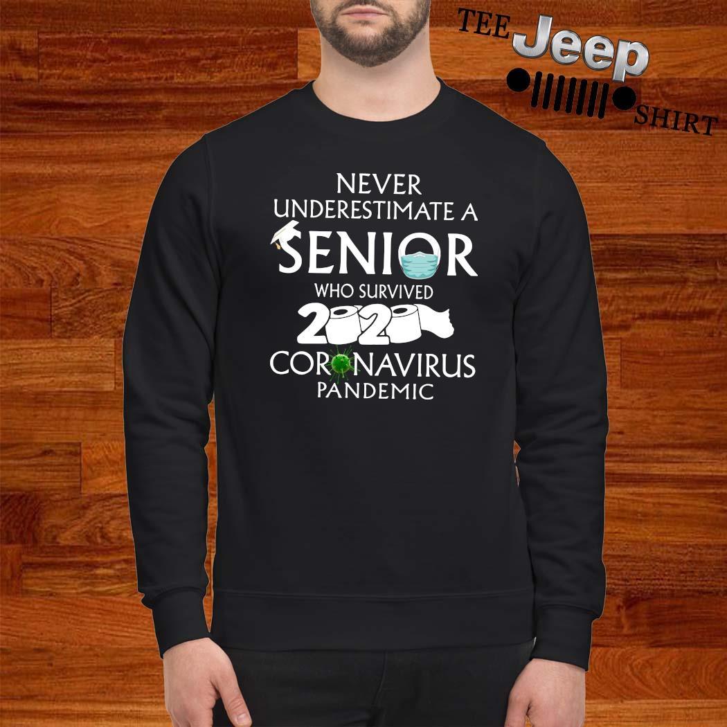 Never Underestimate A Senior Who Survived 2020 Coronavirus Pandemic Shirt sweatshirt