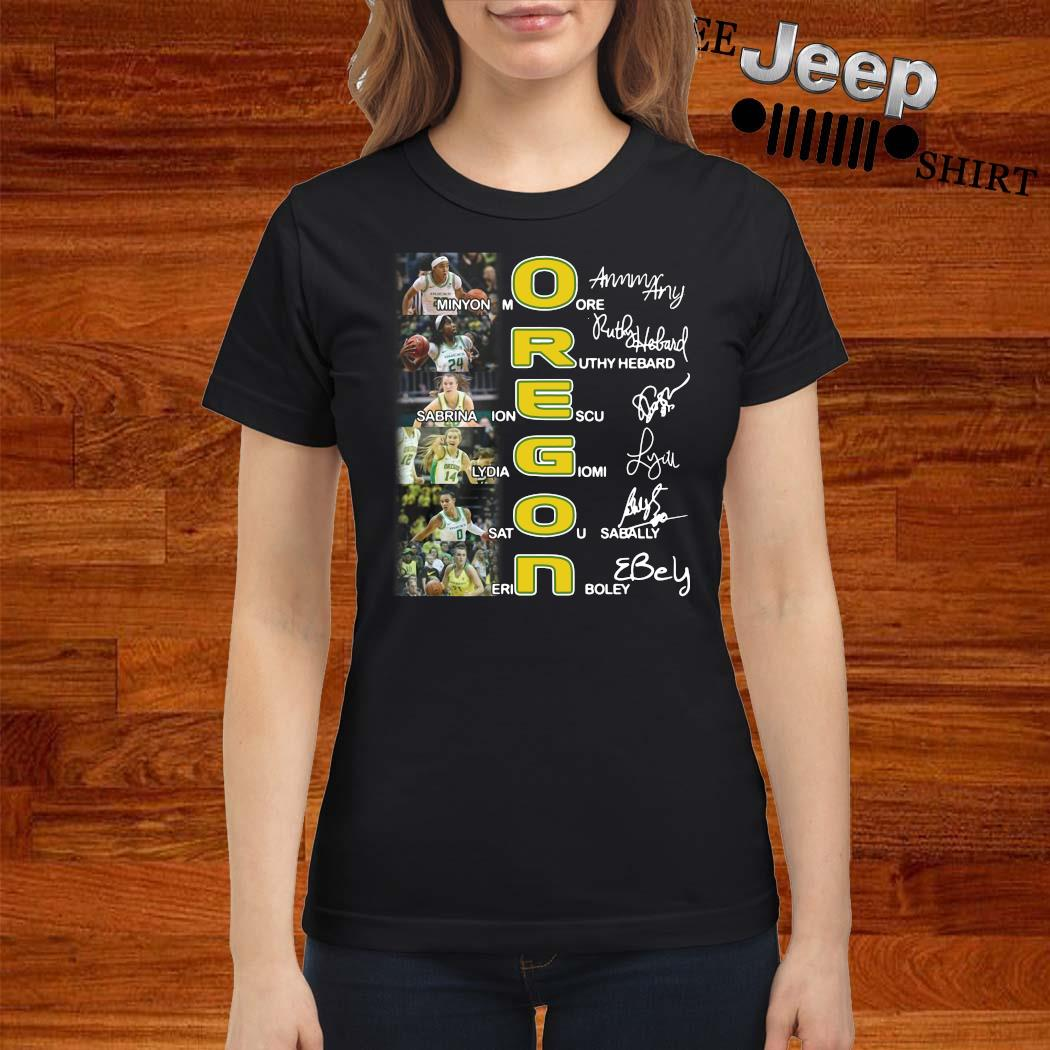 Oregon Minyon Moore Ruthy Hebard Sabrina Ionescu Signatures Shirt ladies-shirt
