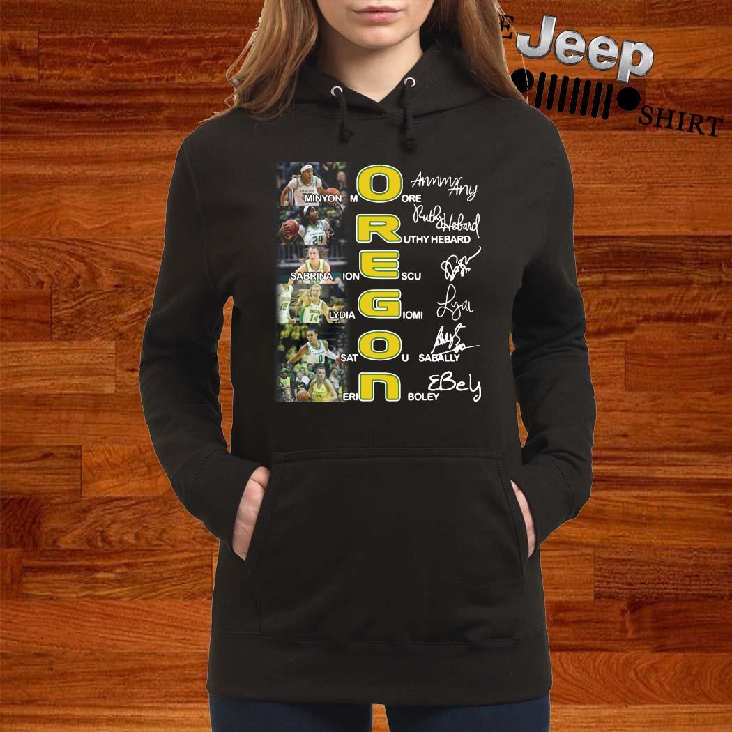 Oregon Minyon Moore Ruthy Hebard Sabrina Ionescu Signatures Shirt women-hoodie