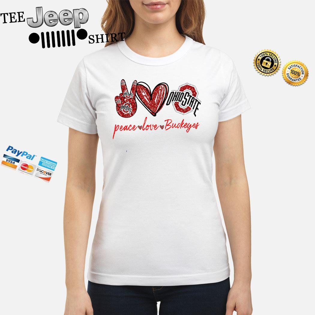 Peace Love Ohio State Buckeyes Ladies Shirt