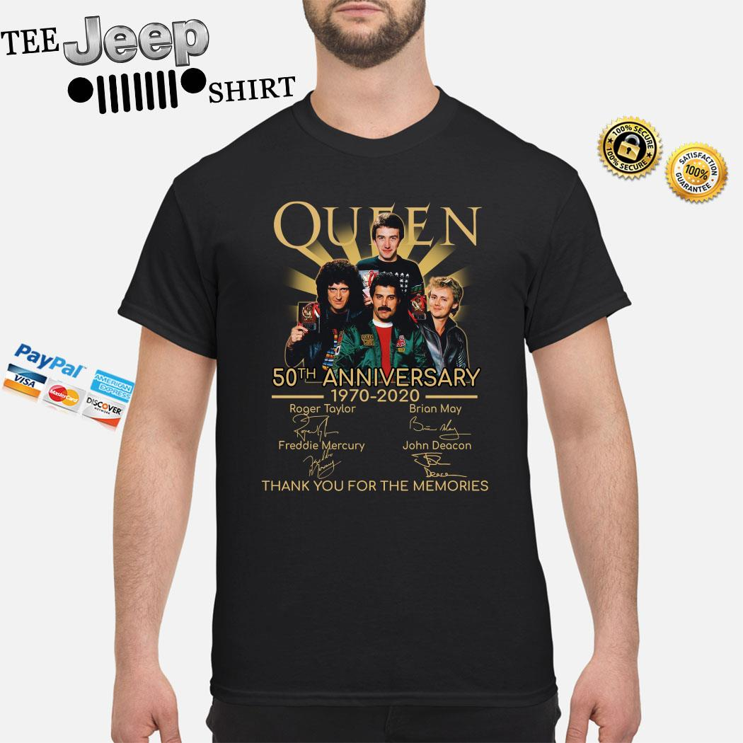 Queen 50th Anniversary 1970 2020 Thank You For The Memories Signatures Shirt