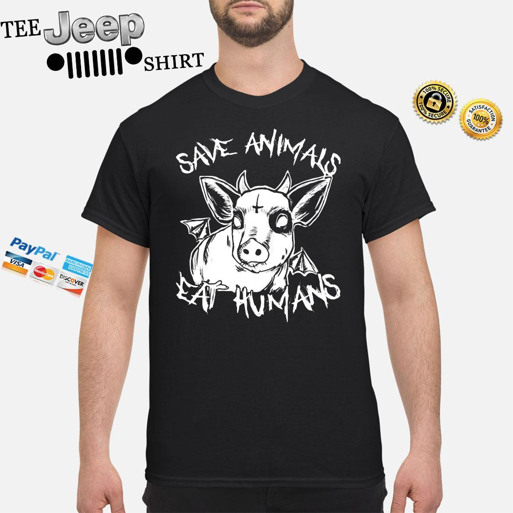 Save Animals Eat Humans Cow Heifer Satanic Cross Shirt