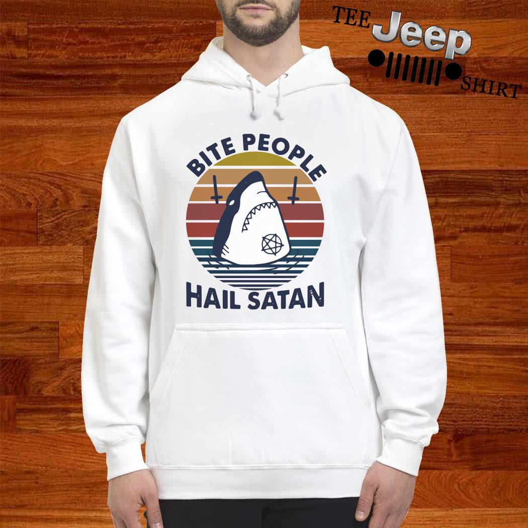 Shark Bite People Hail Satan Vintage Hoodie
