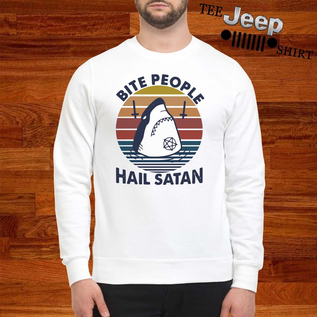 Shark Bite People Hail Satan Vintage Sweatshirt