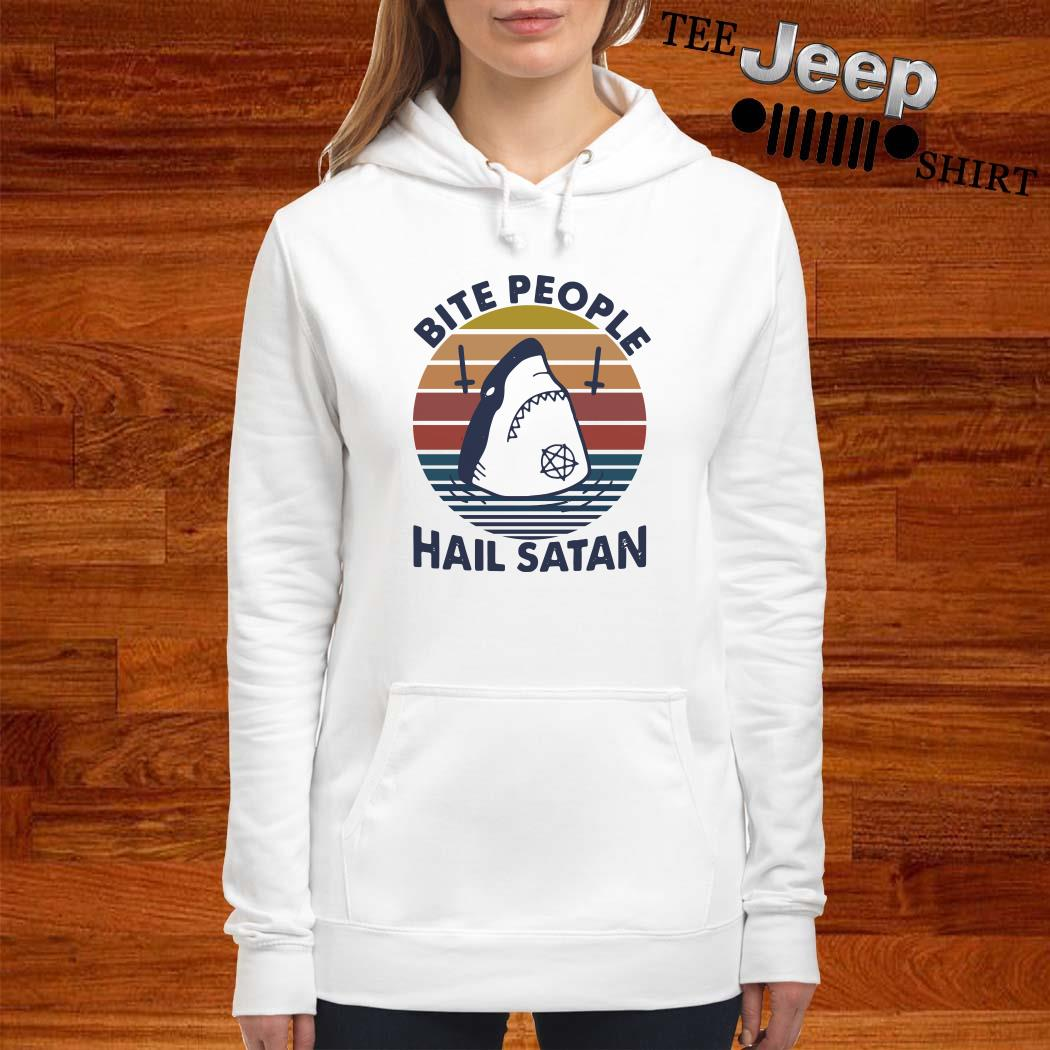 Shark Bite People Hail Satan Vintage Women Hoodie