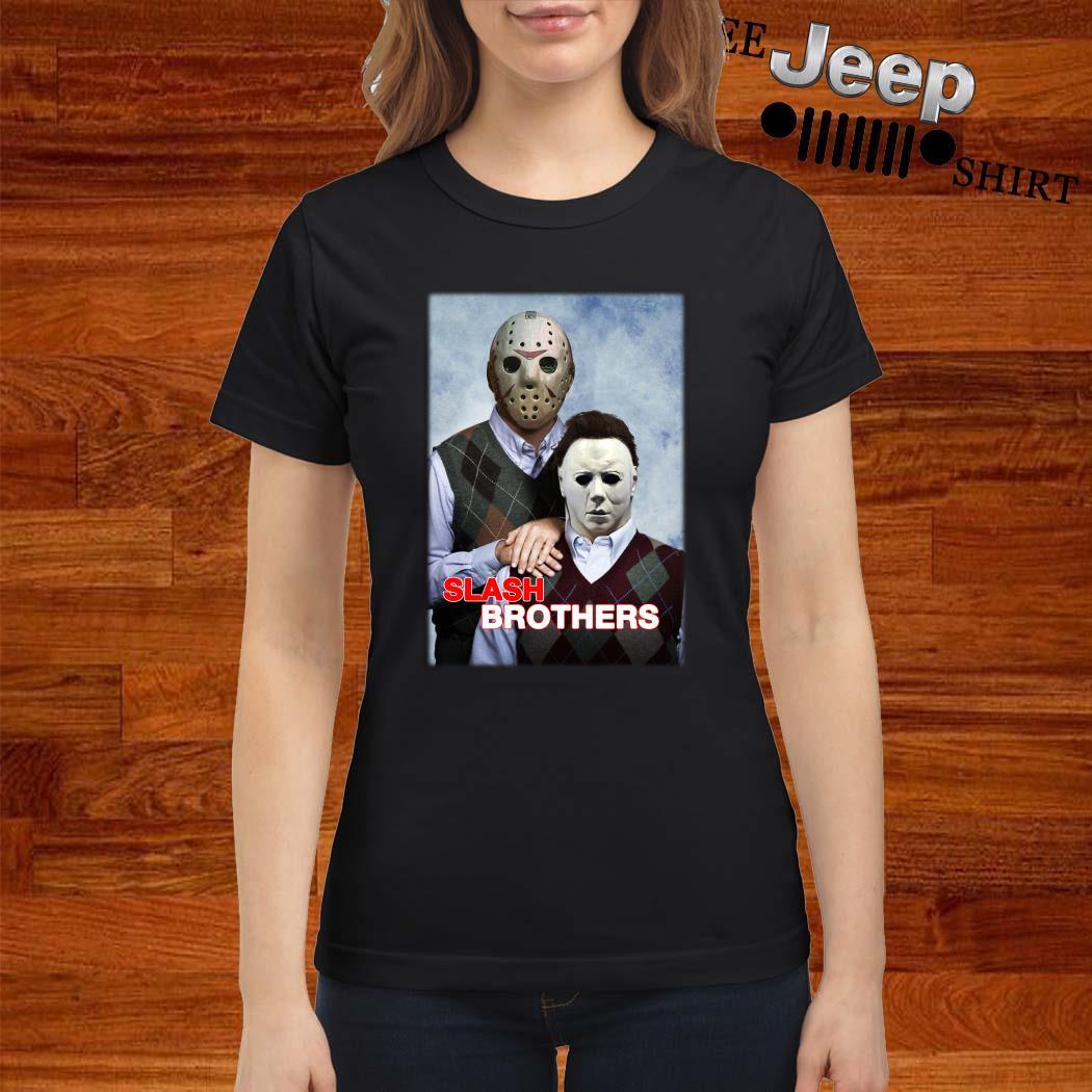Slash Brothers Jason Voorhees And Michael Myers Ladies Shirt