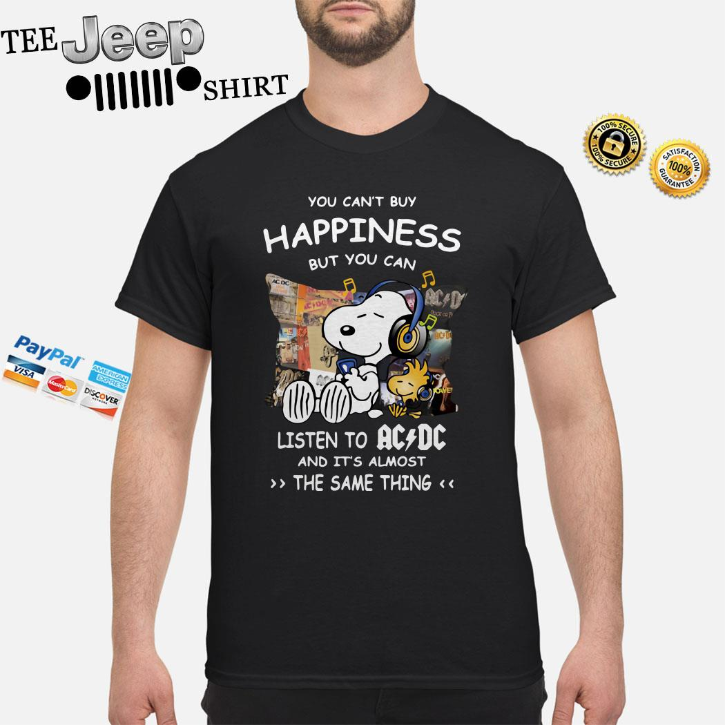 Snoopy And Woodstock You Can't Buy Happiness But You Can Listen To ACDC Shirt