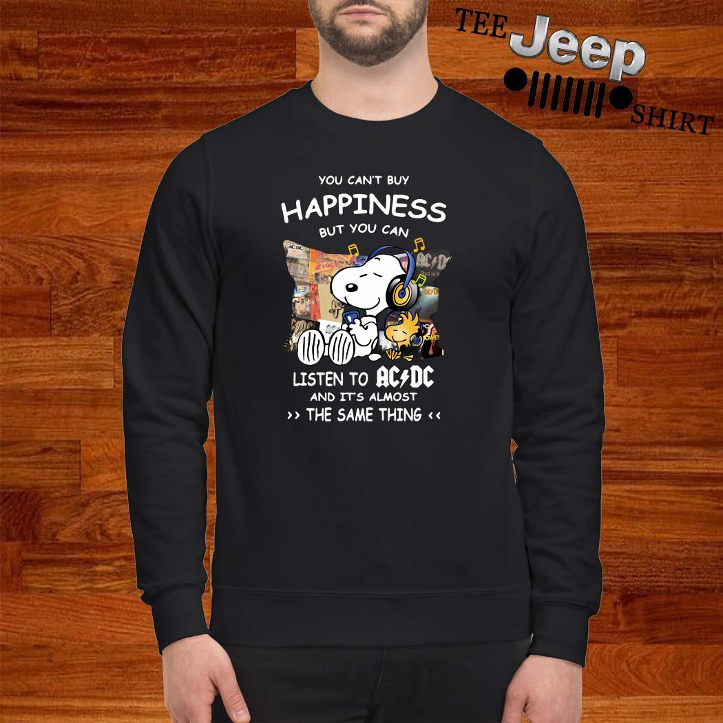 Snoopy And Woodstock You Can't Buy Happiness But You Can Listen To ACDC Sweatshirt