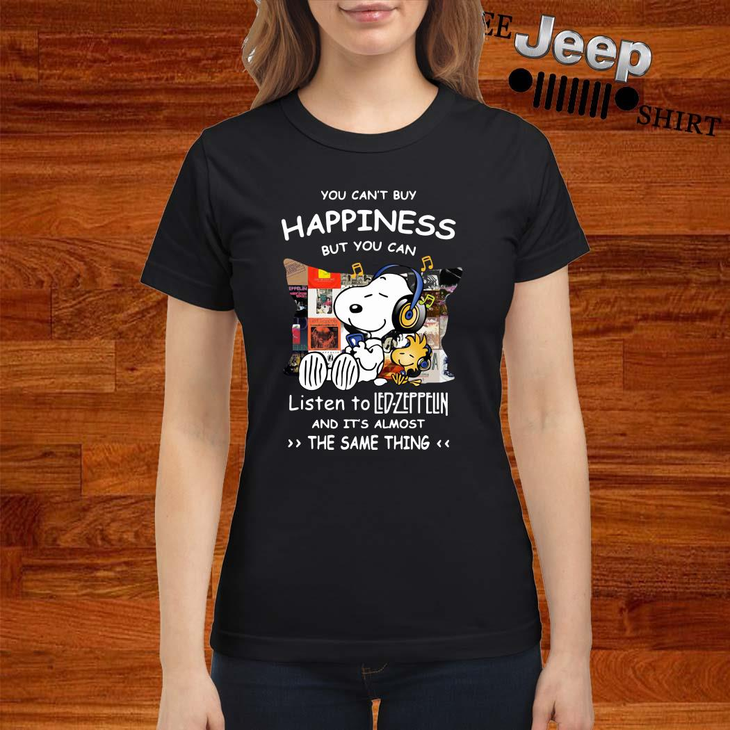 Snoopy And Woodstock You Can't Buy Happiness But You Can Listen To Led-zeppelin Ladies Shirt