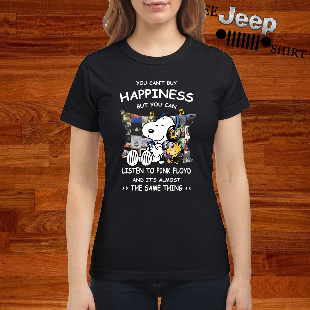 Snoopy And Woodstock You Can't Buy Happiness But You Can Listen To Pink Floyd Ladies Shirt