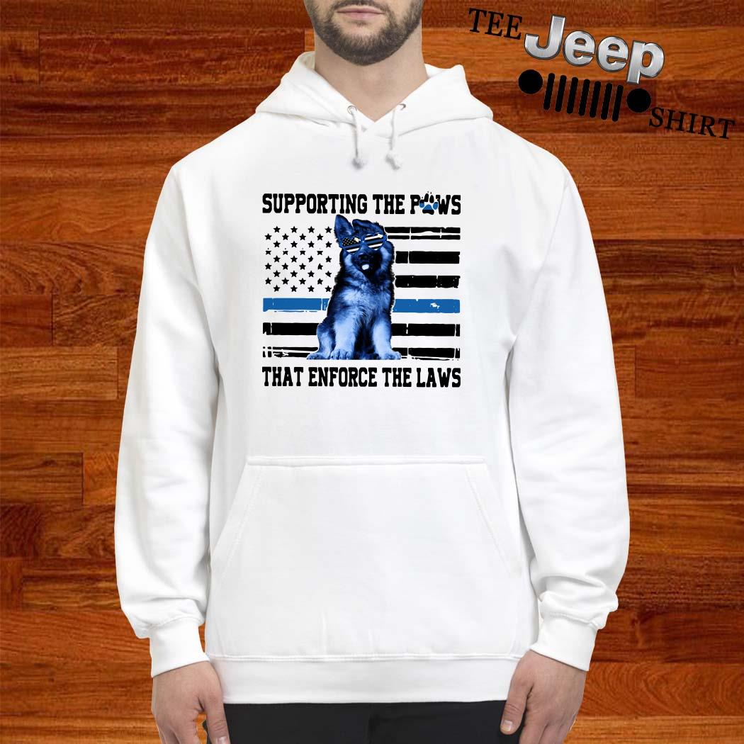 Supporting The Paws That Enforce The Laws American Flag Hoodie