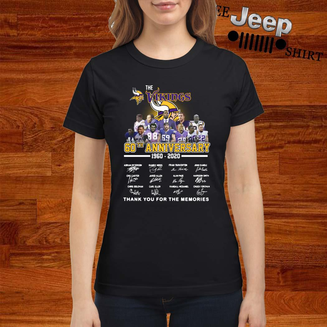 The Vikings 60th Anniversary 1960 2020 Thank You For The Memories Ladies Shirt