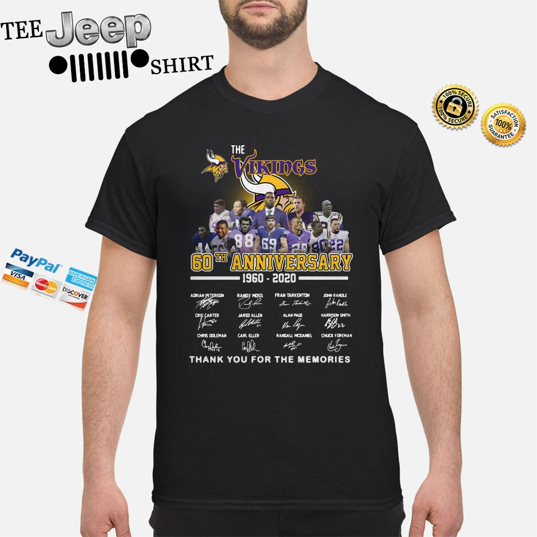 The Vikings 60th Anniversary 1960 2020 Thank You For The Memories Shirt