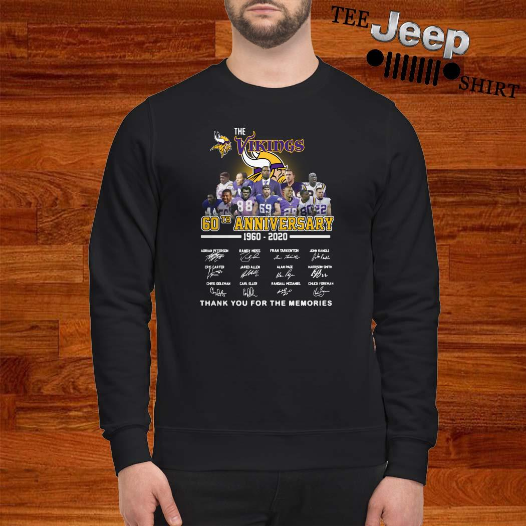 The Vikings 60th Anniversary 1960 2020 Thank You For The Memories Sweatshirt