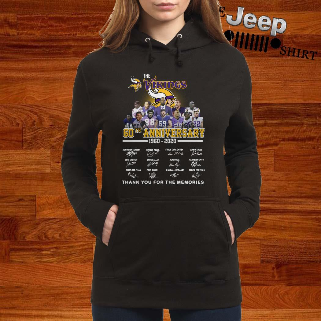 The Vikings 60th Anniversary 1960 2020 Thank You For The Memories Hoodie