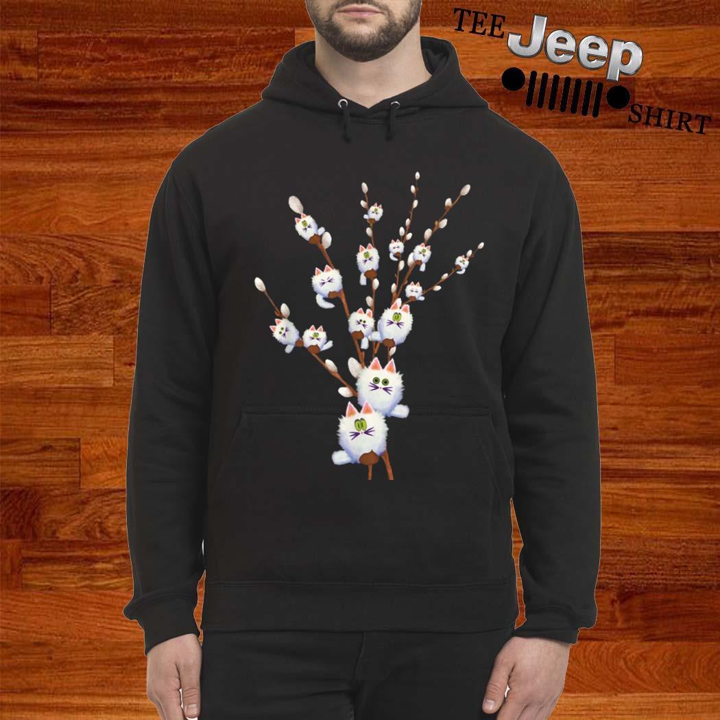 White Cat Willows Flowers Gift Shirt hoodie
