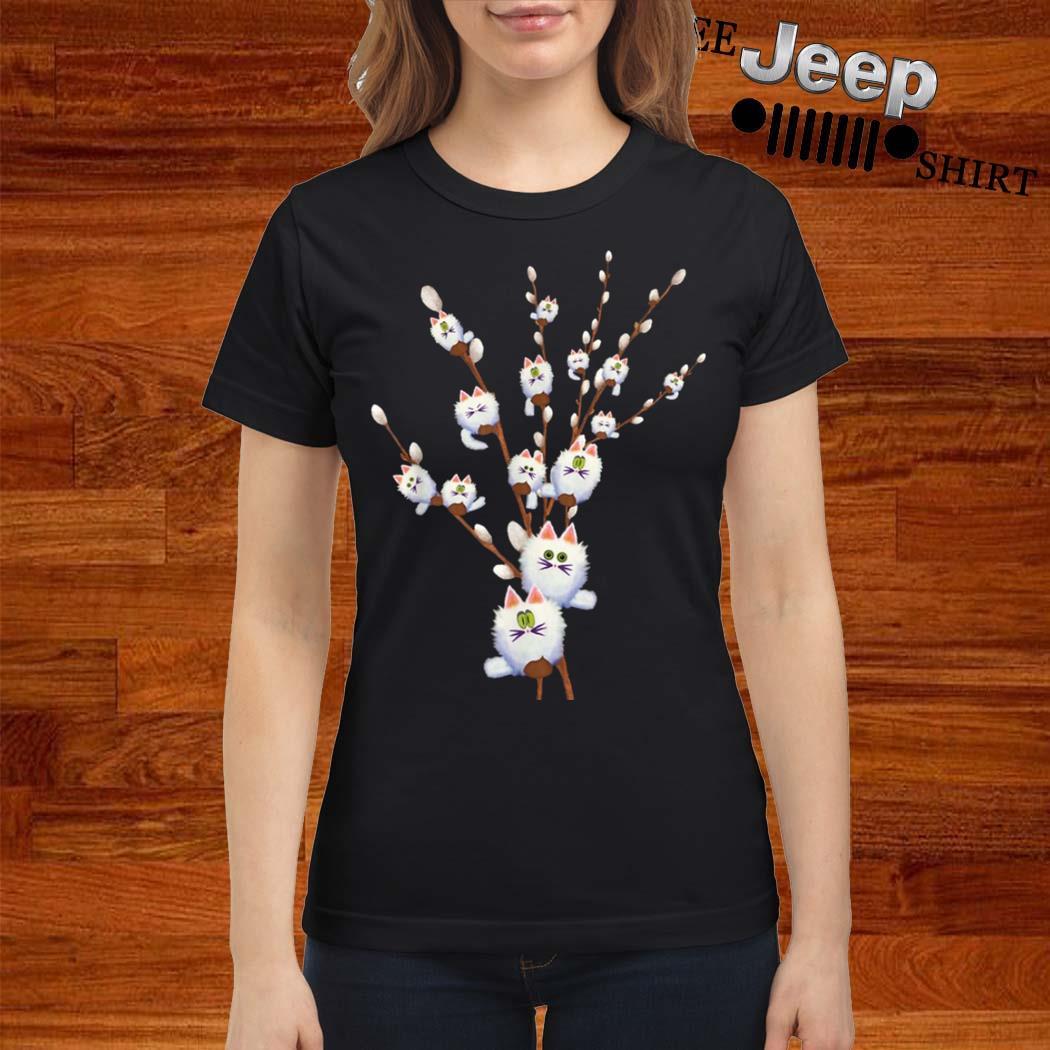 White Cat Willows Flowers Gift Shirt ladies-shirt