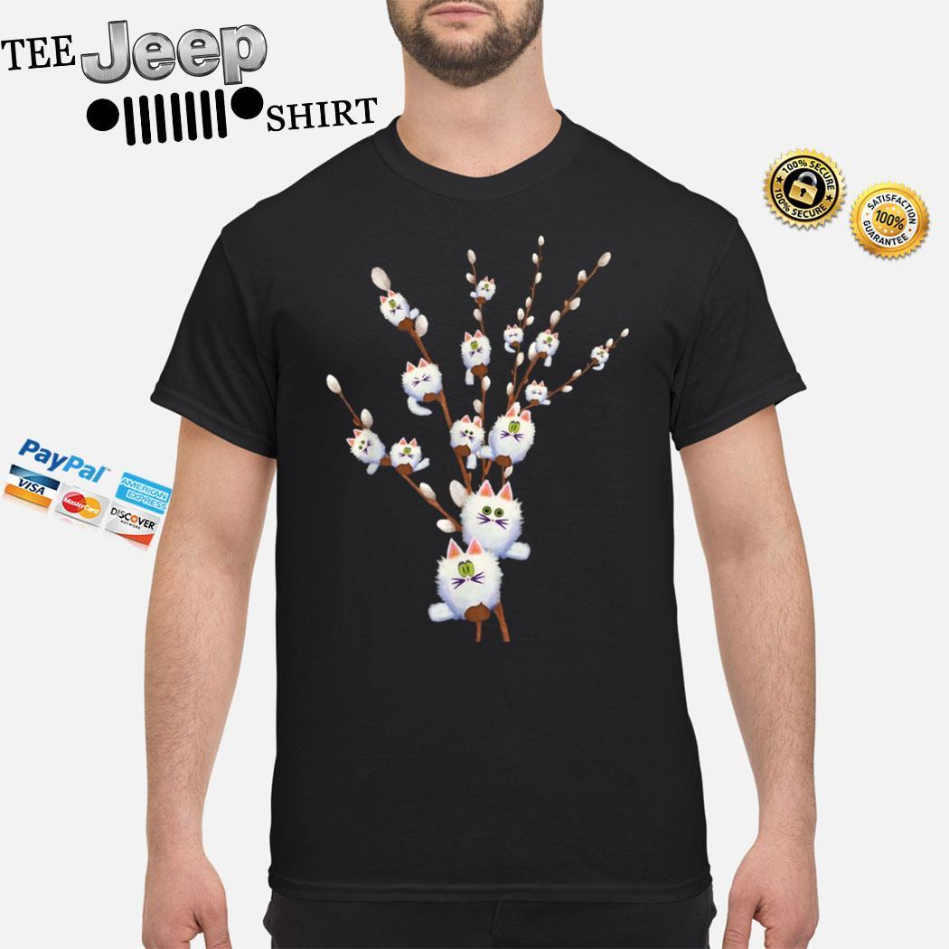White Cat Willows Flowers Gift Shirt