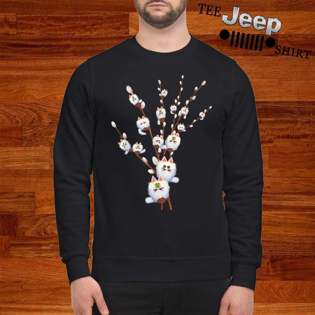 White Cat Willows Flowers Gift Shirt sweatshirt