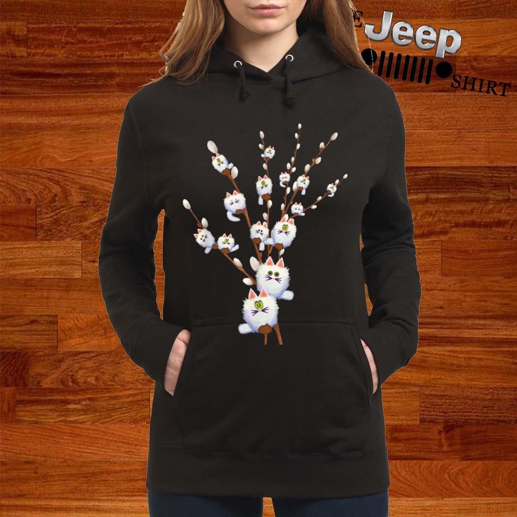White Cat Willows Flowers Gift Shirt women-hoodie