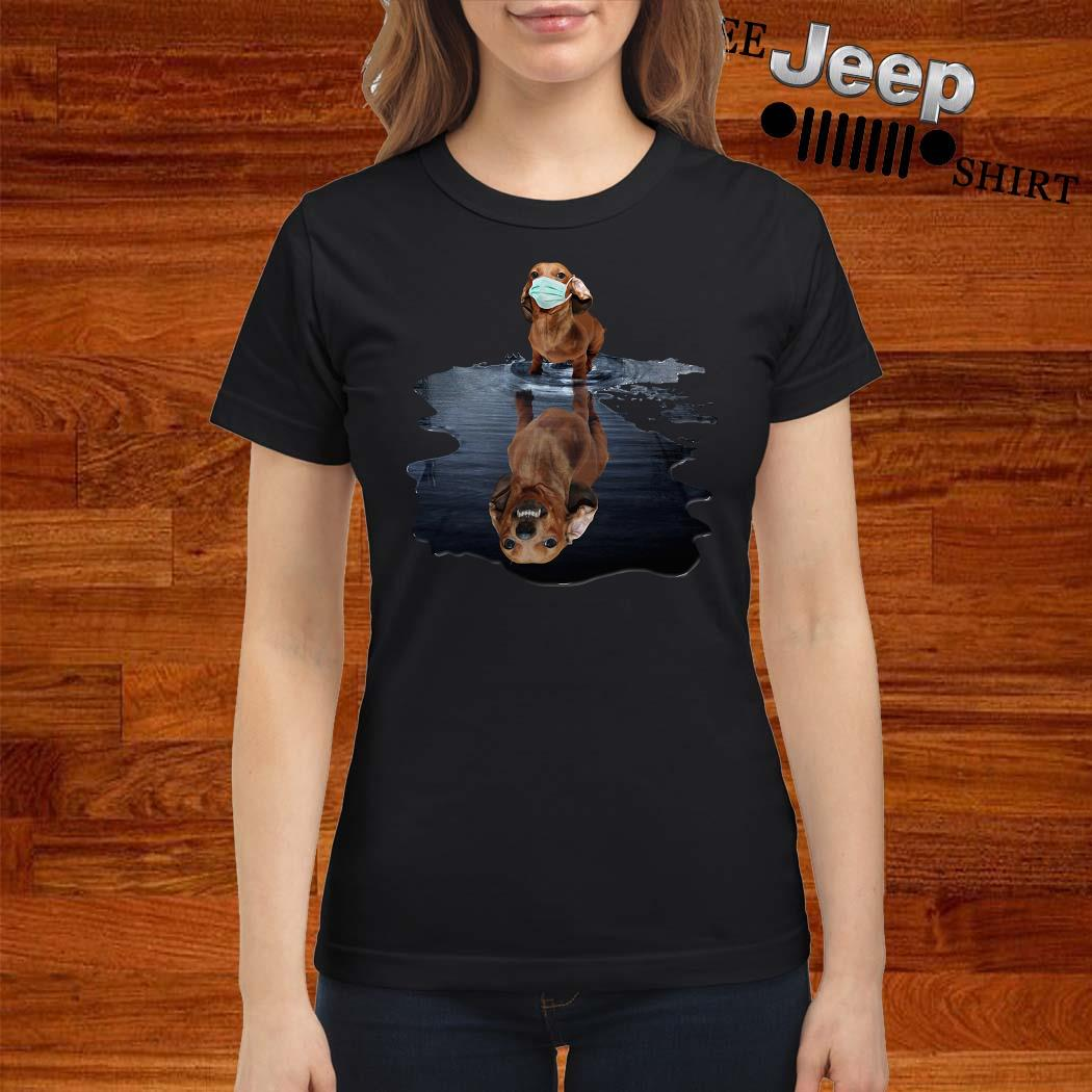 Dachshund Face Mask Water Reflection Dachshund Shirt ladies-shirt