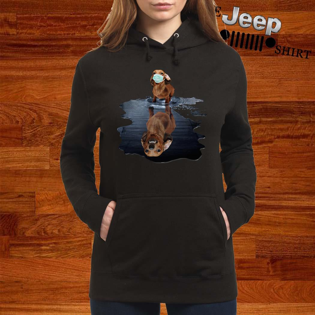 Dachshund Face Mask Water Reflection Dachshund Shirt women-hoodie