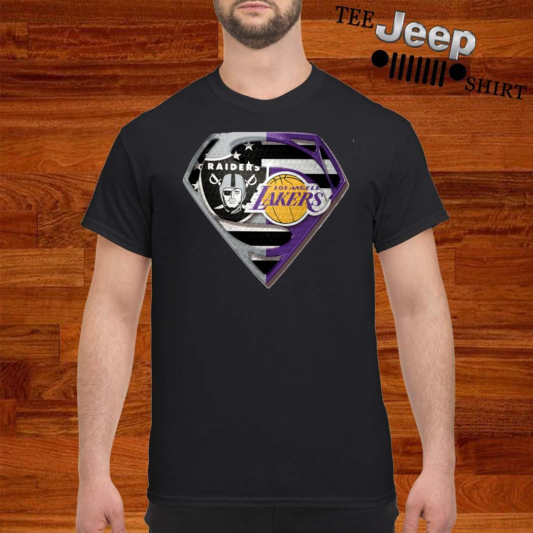 Oakland Raiders And Los Angeles Lakers Superman Shirt