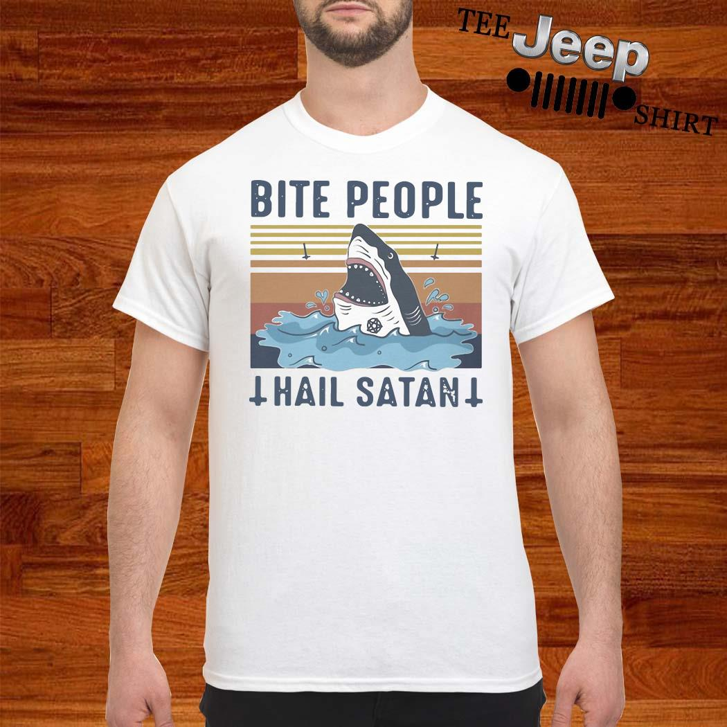 Shark Bite People Hail Satan Vintage Shirt