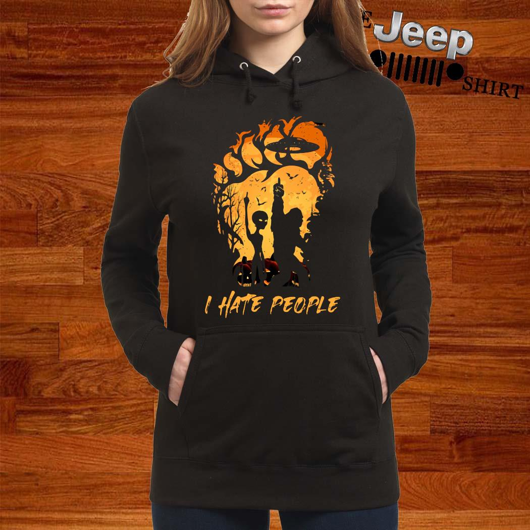 Bigfoot And Alien I Hate People Halloween Shirt women-hoodie