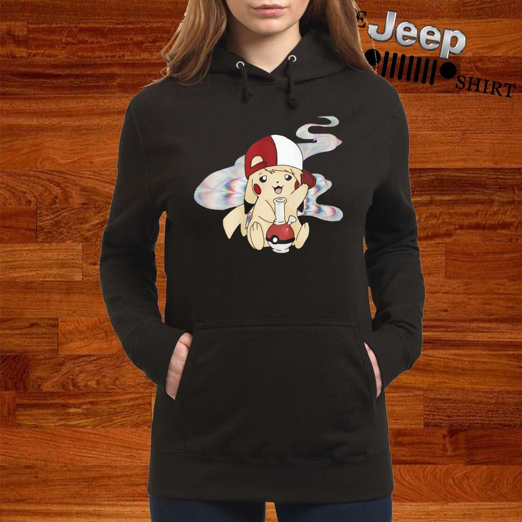 Pikachu Pokemon Smoking Weed Shirt women-hoodie
