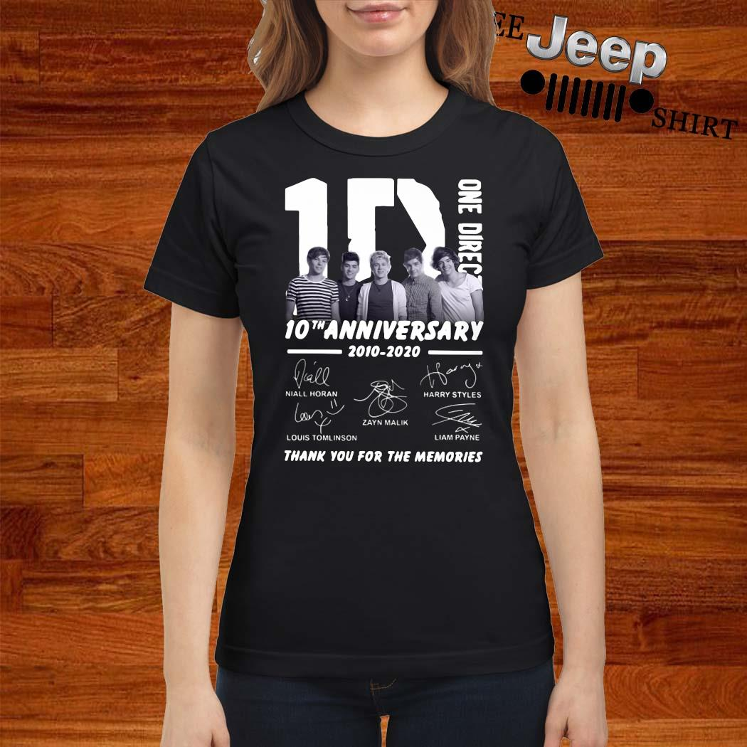 1D One Direction 10th Anniversary 2010 2020 Thank You For The Memories Shirt ladies-shirt