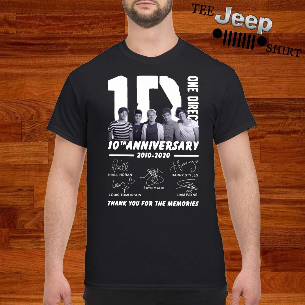 1D One Direction 10th Anniversary 2010 2020 Thank You For The Memories Shirt