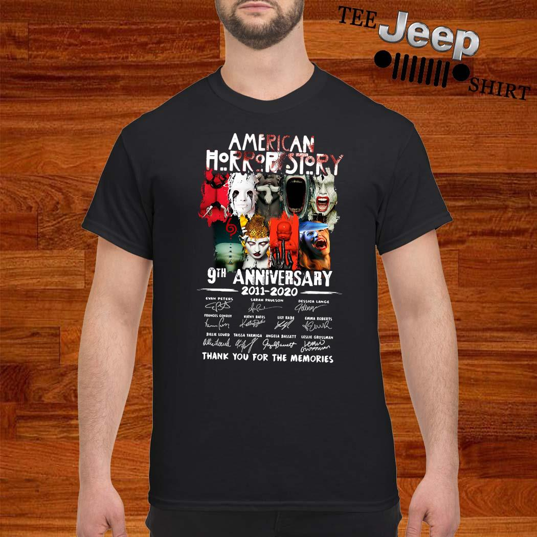 American Horror Story 9th Anniversary 2011 2020 Thank You For The Memories Signatures Shirt