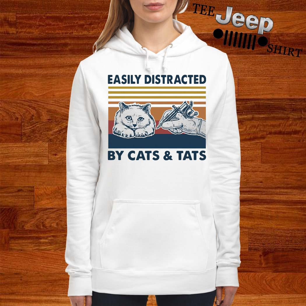 Easily Distracted By Cats And Tats Tattooist Vintage Shirt women-hoodie