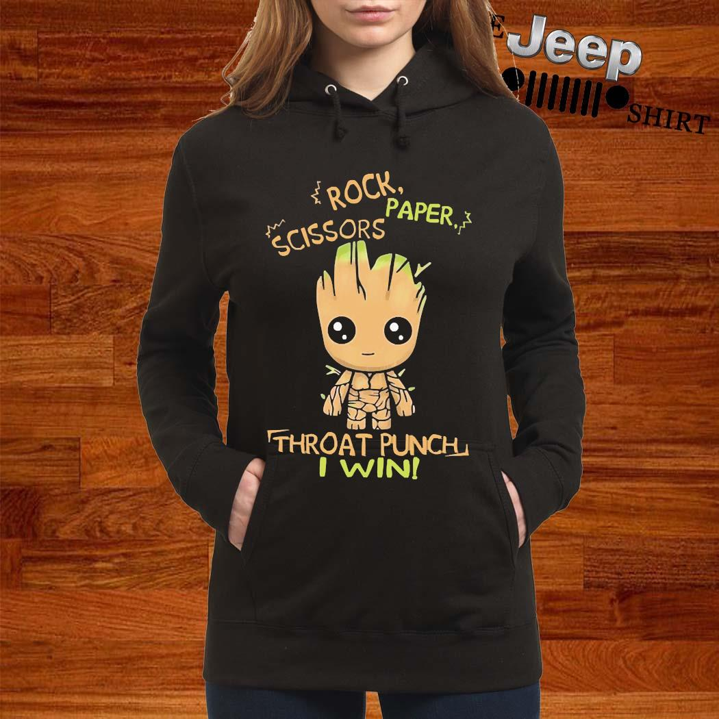 Baby Groot Rock Paper Scissors Throat Punch I Win Shirt ...