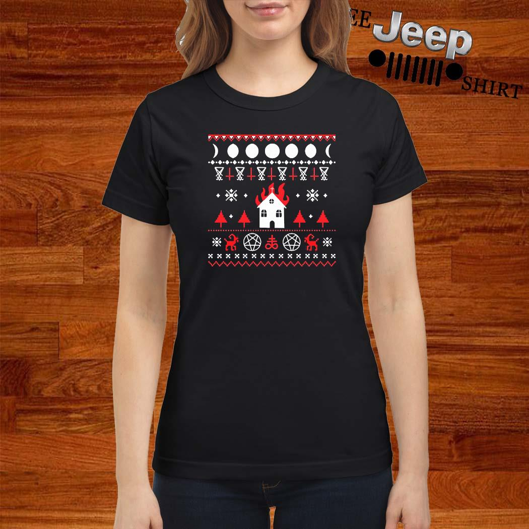Burning Church Ugly Christmas 2020 Shirt ladies-shirt