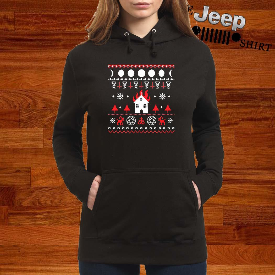 Burning Church Ugly Christmas 2020 Shirt women-hoodie