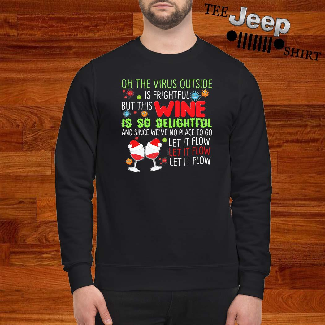 Oh The Virus Outside Is Frightful But The Wine Is So Delightful Christmas Xmas Shirt sweatshirt